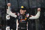 Noah Gragson celebrates in Victory Lane after winning the NASCAR Xfinity series auto race at Daytona International Speedway, Saturday, Feb. 15, 2020, in Daytona Beach, Fla. (AP Photo/Terry Renna)