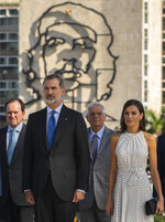 In this Tuesday, Nov. 12, 2019 photo, Spain's King Felipe VI and Queen Letizia attend a ceremony for Cuban Independence Hero Jose Marti at Revolution Square in Havana, Cuba. The Spanish kings are in Havana on an official visit. (AP Photo/Ramon Espinosa)