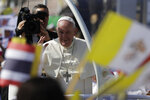 Pope Francis visits St. Peter's Parish, Friday, Nov. 22, 2019, outside Bangkok, Thailand. (AP Photo/Gregorio Borgia)