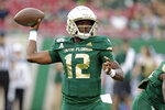 South Florida quarterback Jordan McCloud fires a pass against Memphis during the first half of an NCAA college football game Saturday, Nov. 23, 2019, in Tampa, Fla. (AP Photo/Chris O'Meara)