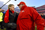 Kansas City Chiefs head coach Andy Reid, right, talks to Clark Hunt, part owner, Chairman and CEO of the Kansas City Chiefs, after the NFL AFC Championship football game against the Tennessee Titans Sunday, Jan. 19, 2020, in Kansas City, MO. The Chiefs won 35-24 to advance to Super Bowl 54. (AP Photo/Ed Zurga)