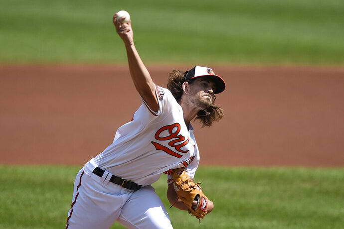 Baltimore Orioles pitcher Dean Kremer delivers against the New York Yankees during the first inning of a baseball game, Sunday, Sept. 6, 2020, in Baltimore, Md. (AP Photo/Gail Burton)