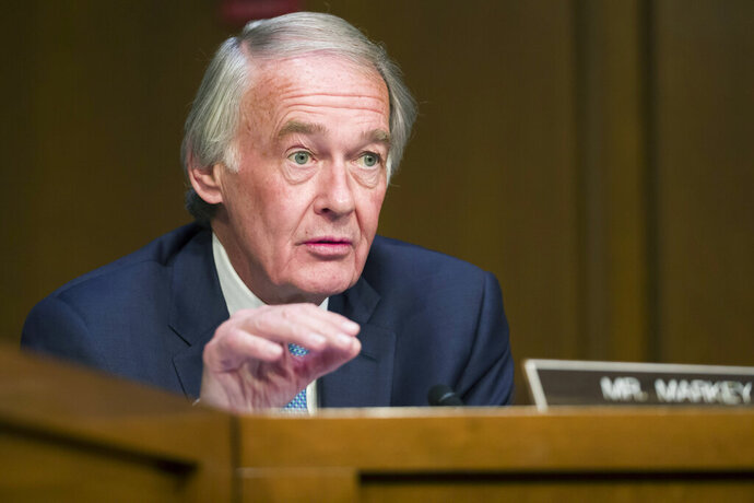 FILE - In this March 27, 2019 file photo, Sen. Ed Markey, D-Mass., speaks during a Senate Transportation subcommittee on commercial airline safety, on Capitol Hill in Washington. Amazon-owned doorbell camera company Ring is facing questions from a U.S. senator over its partnerships with police departments around the country. Sen. Edward Markey, a Massachusetts Democrat, sent a letter Thursday, Sept. 5, 2019 to Amazon CEO Jeff Bezos raising privacy and civil liberty concerns about Ring cameras that are capturing and storing footage of U.S. neighborhoods. Markey is seeking more information from Bezos about Ring's video-sharing agreements with law enforcement agencies. (AP Photo/Alex Brandon, File)
