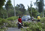 A city worker directs traffic away from trees felled by Hurricane Humberto, in the Devonshire parish of Bermuda, Thursday, Sept. 19, 2019. Humberto blew off rooftops, toppled trees and knocked out power but officials said Thursday that the Category 3 storm caused no reported deaths. (AP Photo/Akil J. Simmons)