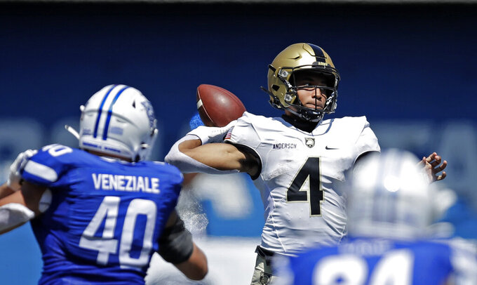 Army quarterback Christian Anderson throws a pass against Georgia State during the third quarter of an NCAA football game Saturday, Sept. 4, 2021, in Atlanta. (AP Photo/Ben Margot)