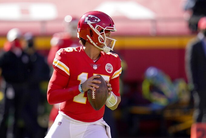 Kansas City Chiefs quarterback Patrick Mahomes drops back to pass in the first half of an NFL football game against the New York Jets on Sunday, Nov. 1, 2020, in Kansas City, Mo. (AP Photo/Jeff Roberson)