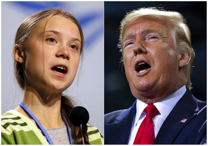 """This combination photo shows Swedish climate activist Greta Thunberg speaking at the COP25 summit in Madrid, Spain on Dec. 11, 2019, left, and President Donald Trump speaking at a campaign rally in Battle Creek, Mich. on Dec. 18, 2019. When climate activist Greta Thunberg, also 16, was named Time magazine's 2019 person of the year, President Donald Trump took to Twitter to call her choice """"ridiculous."""