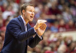 Nebraska head coach Fred Hoiberg reacts to action on the court during the first half of an NCAA college basketball game against Indiana, Friday, Dec. 13, 2019, in Bloomington, Ind. (AP Photo/Doug McSchooler)