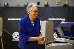 Mayoral Candidate Toni Preckwinkle at the 22nd precinct polling station, Tuesday, April 2nd, 2019.  (James Foster/Chicago Sun-Times via AP)
