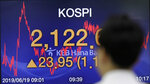 A currency trader walks by the screen showing the Korea Composite Stock Price Index (KOSPI) at the foreign exchange dealing room in Seoul, South Korea, Wednesday, June 19, 2019. Asian shares were mostly higher Wednesday on optimism about trade after President Donald Trump said he will talk with the Chinese leader later this month in Japan.(AP Photo/Lee Jin-man)