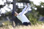 Sung Hyun Park, of South Korea, watches her tee shot on the second hole during the first round of the LPGA Cambia Portland Classic golf tournament in West Linn, Ore., Thursday, Sept. 16, 2021. (AP Photo/Steve Dipaola)