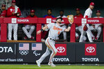 Baltimore Orioles center fielder Ryan McKenna catches a fly out by Philadelphia Phillies' Brad Miller during the eighth inning of an interleague baseball game, Monday, Sept. 20, 2021, in Philadelphia. (AP Photo/Matt Slocum)