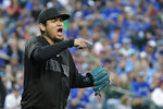 Seattle Mariners starting pitcher Felix Hernandez reacts after the final out of the top of the fifth inning of the team's baseball game against the Toronto Blue Jays, Saturday, Aug. 24, 2019, in Seattle. (AP Photo/Ted S. Warren)