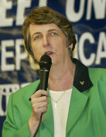 FILE - This June 22, 2004 file photo shows North Carolina state senator, Fern Shubert during a forum in Indian Trail, N.C.  Shubert is running in the Republican primary in May for a shot to fill a still-vacant congressional seat after a political operative working for the previous GOP candidate collected mail-in ballots, making votes vulnerable to being changed or discarded. (APPhoto/Rusty Burroughs)