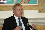 In this Friday, Oct. 20, 2017 photo, British Ambassador Kim Darroch hosts a National Economists Club event at the British Embassy in Washington. Leaked diplomatic cables published Sunday, July 7,2 019, in a British newspaper reveal that Britain's ambassador to the United States described President Donald Trump's administration as