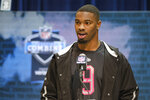 FLE - In this Feb. 27, 2020, file photo, LSU linebacker K'Lavon Chaisson speaks during a press conference at the NFL football scouting combine in Indianapolis. The two biggest losses in free agency for the Dallas Cowboys were at cornerback and defensive end, so it's reasonable to list those as the club's top two priorities going into the draft. (AP Photo/AJ Mast, File)