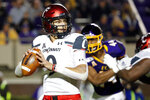 Cincinnati's Desmond Ridder (9) looks to pass the ball against East Carolina during the first half of an NCAA college football game in Greenville, N.C., Saturday, Nov. 2, 2019. (AP Photo/Karl B DeBlaker)