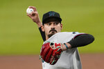 Miami Marlins starting pitcher Pablo Lopez works against the Atlanta Braves during the first inning of a baseball game Thursday, Sept. 24, 2020, in Atlanta. (AP Photo/John Bazemore)