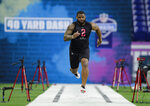 FILE - In this Feb. 29, 2020, file photo, TCU defensive lineman Ross Blacklock runs the 40-yard dash at the NFL football scouting combine in Indianapolis. Blacklock is a possible pick in the NFL Draft which runs Thursday, April 23, 2020, thru Saturday, April 25. (AP Photo/Michael Conroy, File)