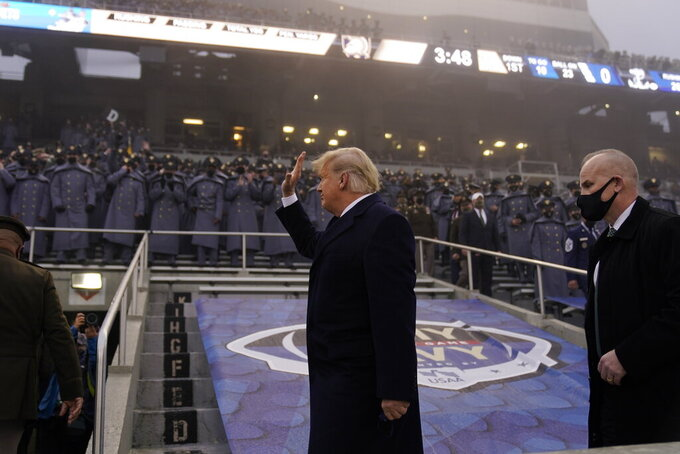President Donald Trump attends the 121st Army-Navy Football Game in Michie Stadium at the United States Military Academy, Saturday, Dec. 12, 2020, in West Point, N.Y. (AP Photo/Andrew Harnik)