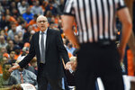 Syracuse head coach Jim Boeheim questions a call during the first half of an NCAA college basketball game against Virginia in Syracuse, N.Y., Monday, March 4, 2019. (AP Photo/Adrian Kraus)