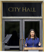 London Breed practices her speech before being sworn in as San Francisco's new mayor outside City Hall on Wednesday, July 11, 2018, in San Francisco. Breed becomes the city's first African American female mayor and she inherits a San Francisco battling homelessness, open drug use and unbearably high housing costs. (AP Photo/Marcio Jose Sanchez)
