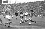 """FILE  - In this July 7, 1974 file photo, West German forward Gerd Müller centre, scores his team's second goal in the World Cup final match against Holland, in Munich, Germany.  Gerd Müller, the Bayern Munich and former West Germany forward known as """"Der Bomber"""" for his scoring-prowess, has died. He was 75. The Bavarian club announced his death on Sunday, Aug. 15, 2021. (AP Photo, FIle)"""