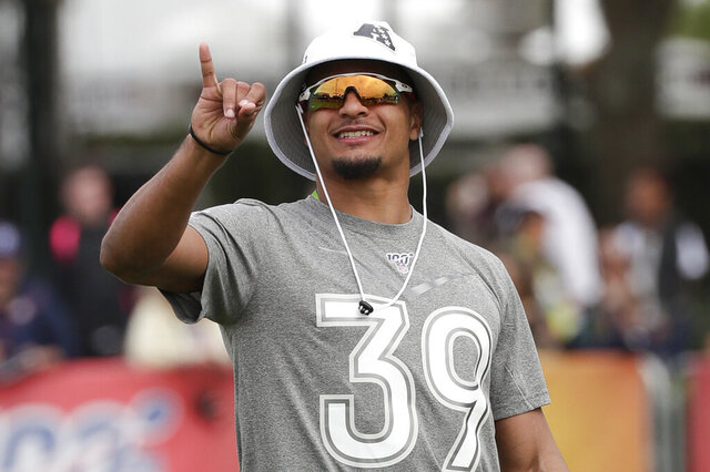 FILE - In this Jan. 23, 2020, file photo, Pittsburgh Steelers NFL football player Minkah Fitzpatrick gestures during practice for the Pro Bowl in Kissimmee, Fla. Fitzpatrick isn't sure when he'll get a chance to be around his teammates again. In a weird way though, the potentially chaotic schedule that lies ahead for the NFL could be a boon to the Steelers, who bring back 10 starters on a defense that finished fifth in the league last season. (AP Photo/John Raoux, File)