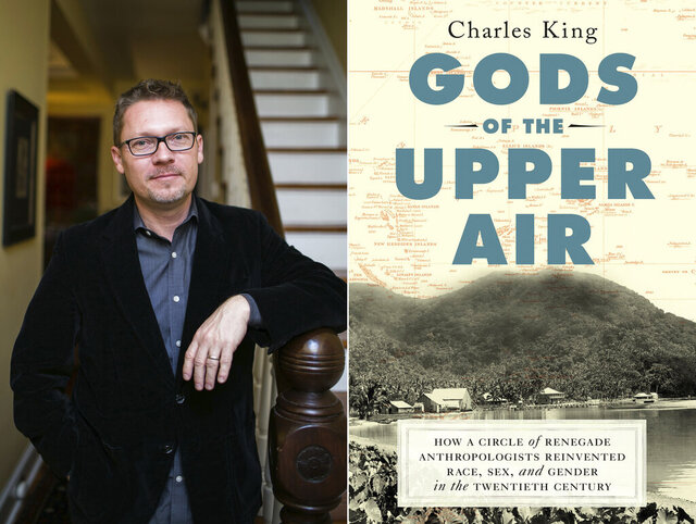 This combination of photos released by Doubleday shows author Charles King, left, and the cover of