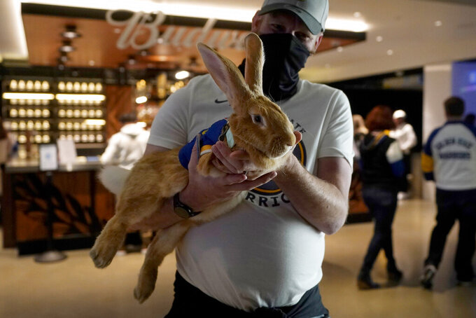 Josh Row holds up a therapy rabbit named Alex at Chase Center before an NBA basketball game between the Golden State Warriors and the Phoenix Suns in San Francisco, Tuesday, May 11, 2021. (AP Photo/Jeff Chiu)