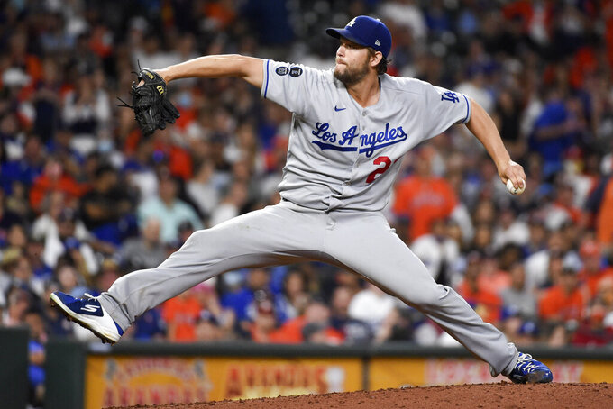 Los Angeles Dodgers starting pitcher Clayton Kershaw delivers during the sixth inning of a baseball game against the Houston Astros, Tuesday, May 25, 2021, in Houston. (AP Photo/Eric Christian Smith)