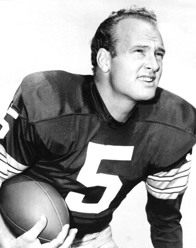 """FILE - In this undated photo is Paul Hornung, of the Green Bay Packers. Hornung had the opportunity to play in his home state for Hall of Fame coach Bear Bryant at the University of Kentucky but felt Notre Dame gave him his best shot to thrive. """"If you were a quarterback back in those days, you wanted to go to Notre Dame and to become successful,"""" Hornung said in a 2016 interview with the Heisman Trophy Trust. Hornung died Nov. 13, 2020, at age 84. (AP Photo, File)"""