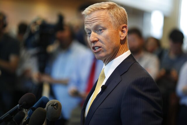 FILE - In this May 15, 2019, file photo, District Attorney George Brauchler speaks during a news conference in Castle Rock, Colo. An investigation will determine if police officers in suburban Denver will face charges after handcuffing two Black girls and placing them on the ground while mistakenly suspecting they were riding in a stolen car, a prosecutor said Friday, Aug. 7, 2020. Aurora Police Chief Vanessa Wilson and the department are cooperating with the investigation, Brauchler said. He called the public accounts of the confrontation