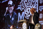 Texas A&M head coach Jimbo Fisher speaks to reporters during an NCAA college football news conference at the Southeastern Conference media days, Wednesday, July 21, 2021, in Hoover, Ala. (AP Photo/Butch Dill)