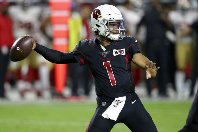 Arizona Cardinals quarterback Kyler Murray (1) throws against the San Francisco 49ers during the first half of an NFL football game, Thursday, Oct. 31, 2019, in Glendale, Ariz. (AP Photo/Ross D. Franklin)