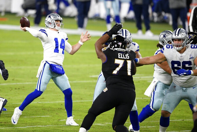 Dallas Cowboys quarterback Andy Dalton (14) throws a touchdown pass to wide receiver Michael Gallup during the first half of an NFL football game against the Baltimore Ravens, Tuesday, Dec. 8, 2020, in Baltimore. (AP Photo/Nick Wass)