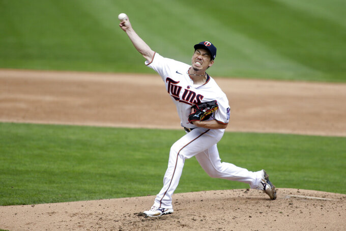 Minnesota Twins starting pitcher Kenta Maeda throws to the Boston Red Sox during the third inning during a baseball game, Wednesday, April 14, 2021, in Minneapolis. (AP Photo/Andy Clayton-King)