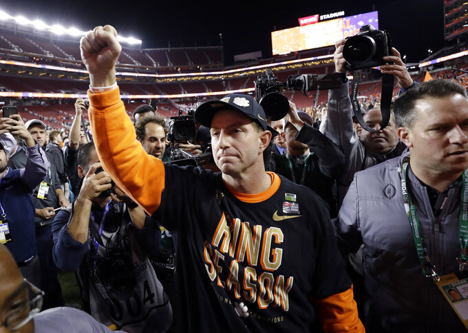 Clemson head coach Dabo Swinney celebrates after the NCAA college football playoff championship game against Alabama, Monday, Jan. 7, 2019, in Santa Clara, Calif. Clemson beat Alabama 44-16. (AP Photo/David J. Phillip)