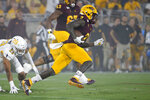 Arizona State wide receiver Brandon Aiyuk (2) gets past Kent State safety Dean Clark (23) on a touchdown catch and run during the second half of an NCAA college football game Thursday, Aug. 29, 2019, in Tempe, Ariz. (AP Photo/Ralph Freso)