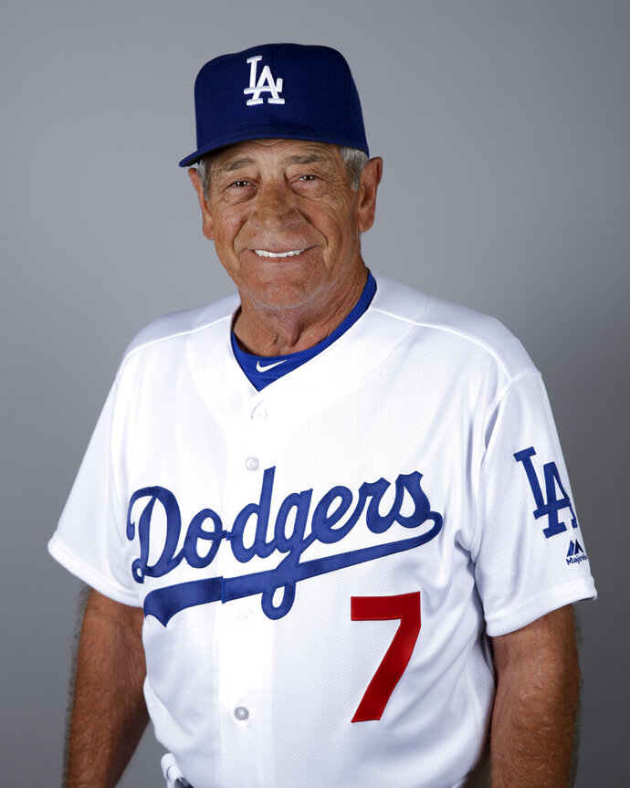 FILE - This is a 2016 file photo showing Steve Yeager of the Los Angeles Dodgers baseball team. Yeager played a coach in the movie