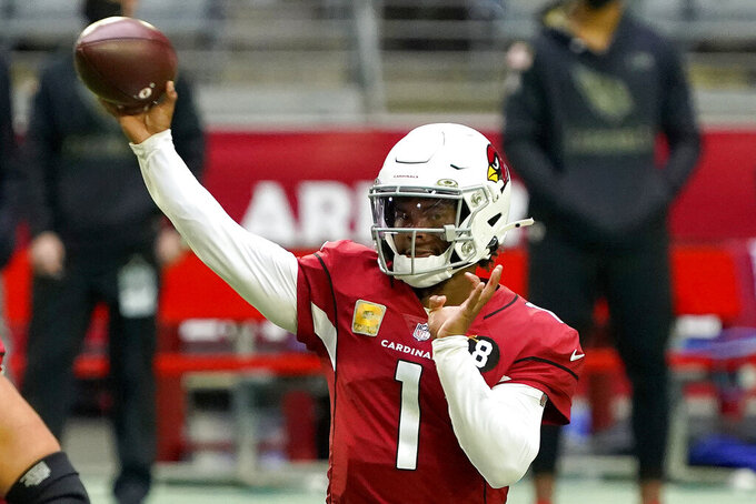 Arizona Cardinals quarterback Kyler Murray (1) throws against the Miami Dolphins during the first half of an NFL football game, Sunday, Nov. 8, 2020, in Glendale, Ariz. With the NFC East a total mess, the conference's West Division is so strong that three teams, possibly all four, figure to challenge for the playoffs. (AP Photo/Rick Scuteri)