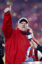 Kansas City Chiefs head coach Andy Reid reacts after winning the NFL AFC Championship football game against the Tennessee Titans Sunday, Jan. 19, 2020, in Kansas City, MO. The Chiefs won 35-24 to advance to Super Bowl 54. (AP Photo/Charlie Neibergall)
