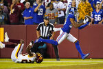 New York Giants wide receiver Darius Slayton (86) makes a touchdown catch against Washington Football Team cornerback William Jackson (23) during the second half of an NFL football game, Thursday, Sept. 16, 2021, in Landover, Md. (AP Photo/Patrick Semansky)