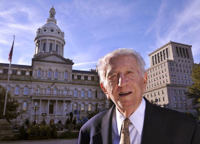 In this Oct. 11, 2016, photo former Baltimore Mayor Thomas D'Alesandro III, 87, poses for a photo outside City Hall in Baltimore, Md. D'Alesandro III, the brother of House Speaker Nancy Pelosi, has died. He was 90. A spokesman for Pelosi said D'Alesandro died Sunday, Oct. 20, 2019. (Amy Davis/The Baltimore Sun via AP)
