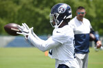 Tennessee Titans wide receiver Racey McMath pulls in a catch during NFL football training camp Thursday, May 27, 2021, in Nashville, Tenn. (George Walker IV/The Tennessean via AP, Pool)