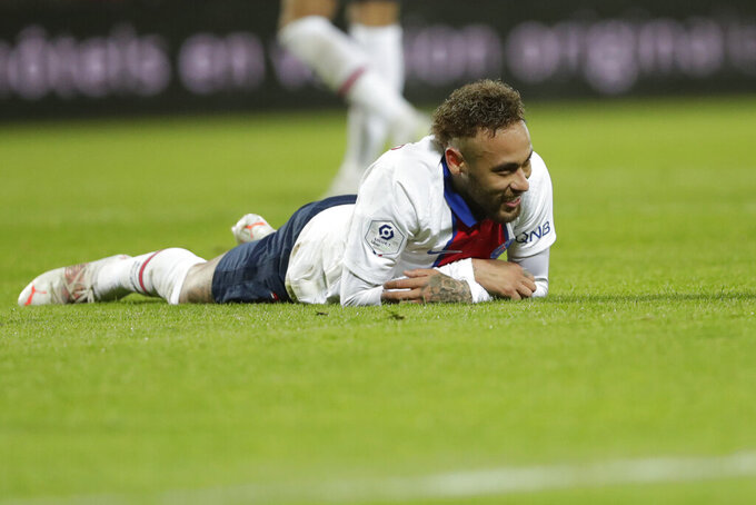 PSG's Neymar reacts at the end of the French League One soccer match between Brest and Paris Saint-Germain at the Stade Francis-Le Ble stadium in Brest, France, Sunday, May 23, 2021. (AP Photo/Thibault Camus)