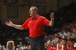 Utah coach Larry Krystkowiak reacts during the first half of the team's NCAA college basketball game against Oregon State in Corvallis, Ore., Thursday, Feb. 13, 2020. (AP Photo/Amanda Loman)