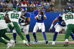 New York Giants quarterback Mike Glennon (2) gets the snap during the first half of the team's NFL preseason football game against the New York Jets, Saturday, Aug. 14, 2021, in East Rutherford, N.J. (AP Photo/Corey Sipkin)