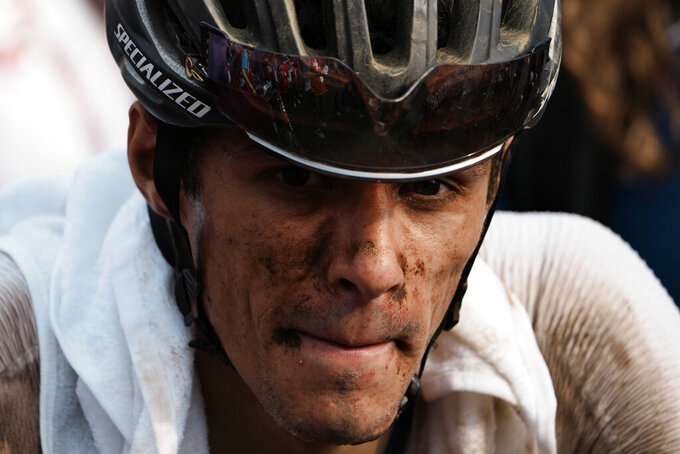 Christopher Blevins of the U.S finishes the men's cross country mountain bike competition at the 2020 Summer Olympics, Monday, July 26, 2021, in Tokyo, Japan. (AP Photo/Thibault Camus)