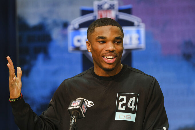 FILE - In this Feb. 28, 2020, file photo, Ohio State defensive back Jeff Okudah speaks during a news conference at the NFL football scouting combine in Indianapolis. Okudah is a possible pick at the NFL Draft which runs Thursday, April 23, 2020, thru Saturday, April 25. (AP Photo/AJ Mast, File)